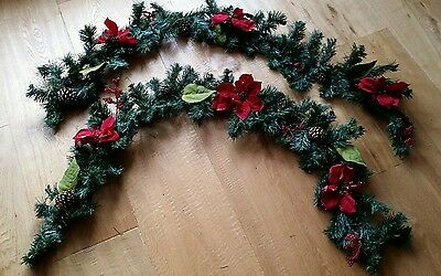 2 x 150cm Christmas Pine Cones And Berry Garland