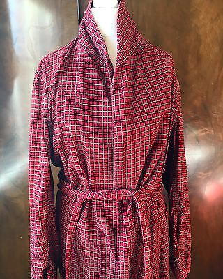1940s 1950s Vintage Red Tartan House Robe Dressing Gown Christmas Festive Small