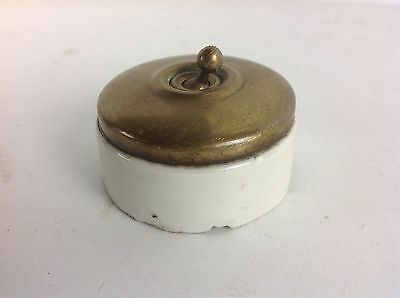 Vintage Brass Dolly Light Switch Old Reclaimed Architectural Crabtree Type
