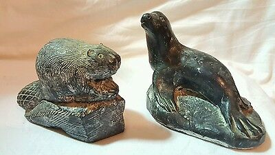 Canadian Soapstone Carvings Of Sea Lion & Beaver