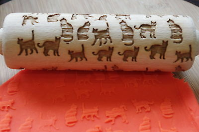 cats  engraved rolling pin