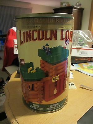 Vintage Original Lincoln Logs Set with Canister - Frontier Fort - Real Wood Knex