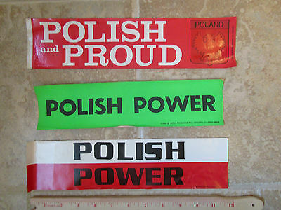 1980's POLISH AND PROUD & POLISH POWER STICKERS - 3 TOTAL - HIPCO / BI RITE