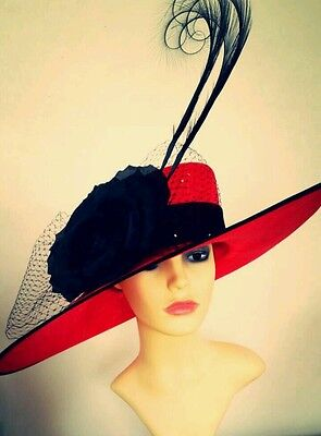 Ladies xxl black and red statement hat. Ascot races wedding mother of the bride