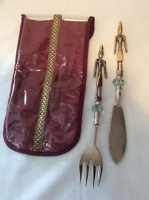 AFRICAN TRIBAL Vintage Fork Knife Figural Serving Utensils Folk Art Collectible
