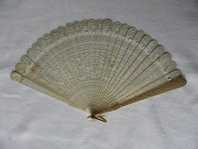 Stunning Antique 18th Century Chinese Carved Figural Pagoda Filigree Brise Fan