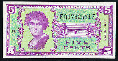 Series 541 5 Five Cents Mpc Military Payment Certificate Gem Uncirculated