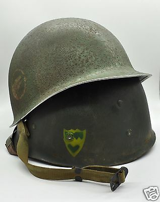 Wwii 104Th Infantry Fixed Bale Helmet W Matching Liner