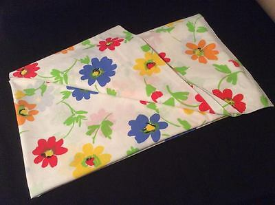 PEQUOT Vintage DOUBLE Full FLAT Bed Sheet Hippy Retro Flower Fabric Material