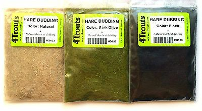 Hare Dubbing 4Trouts - Fly Tying Set of 3 colors - Black, Dark Olive and Natural