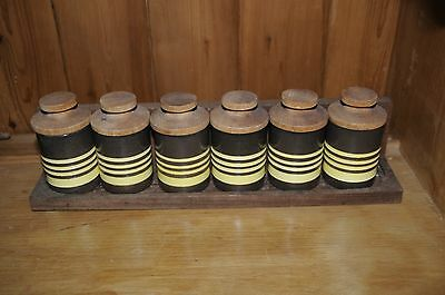 Early Hornsea Pottery Spice Rack - 6 Jars, Gourmet Brown Yellow Stripe, Vintage