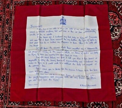 "KING EDWARD VIII ABDICATION SPEECH on a 1936 SCARF (silk?) ""A KINGS FAREWELL"""