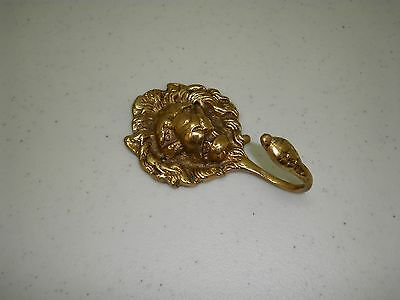 Old Brass Lion Head Coat Hook Lion's Head Robe Hook Estate Find Vintage