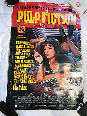 PULP FICTION Single Sided Movie Poster SIGNED by 15 Cast Members and Director