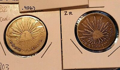 Lot of (2) ~ 1825 & 1827 MEXICO FIRST REPUBLIC ~ 2 Real 903 SILVER coins