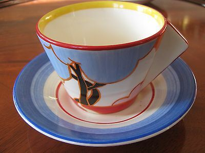 Pair Of  Clarice Cliffe Art Deco Cups & Saucers