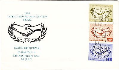 REDUCED Burma 1965 International Co-Operation Year FDC