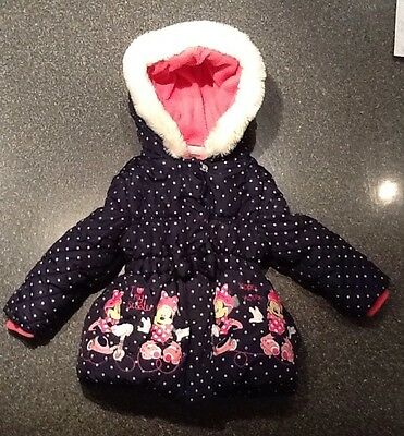 Girls Padded Navy Spotty Winter Coat Disney George 18-24 Months Minnie Mouse