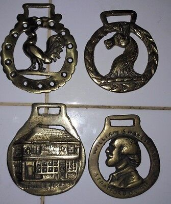 Antique equestrian decorative head tack horse brass rooster horse shakespeare