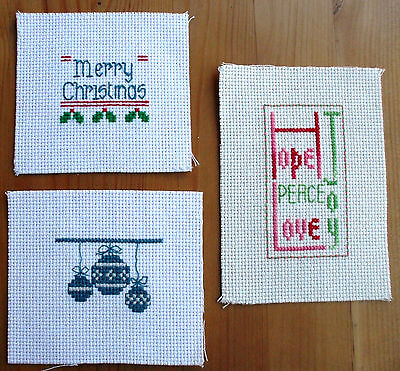 Completed Cross Stitch  Christmas Mix x 3