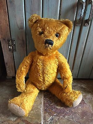 OLD VINTAGE ANTIQUE GOLDEN MOHAIR TEDDY BEAR GERMAN PETZ? FRENCH/ENGLISH? 1930's