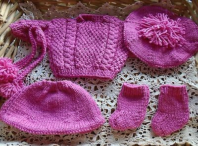 Hand Knitted Aran Jumper, Skirt, Hat, Bootees & Scarf for Baby Doll - Pink Wool