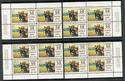 Weeda Canada 492, 492i VF mint NH M/S of PBs, 'Line from Knee' variety CV $125