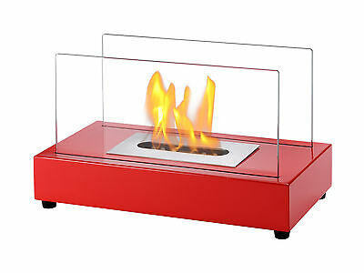 Ignis Ventless Tabletop Ethanol Fireplace - Tower Red - Eco Friendly Fireplace