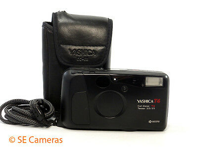 Yashica T4 Carl Zeiss 35Mm F3.5 Tessar 35Mm Film Camera & Case Excellent Cond