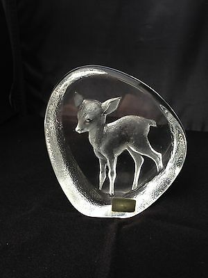 Mats Jonasson Lead Crystal Fawn/deer Paperweight