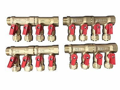 "8 - Loop/Port Ball Valve Brass Manifold for 1/2"" Pex with Manifold Brackets"