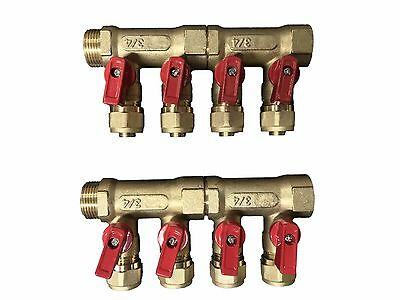 "4 - Loop/Port Ball Valve Brass Manifold for 1/2"" Pex Radiant"