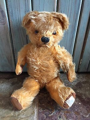 """LOVED OLD VINTAGE ANTIQUE CHAD VALLEY MOHAIR TEDDY BEAR C 1950s 14"""" TALL"""