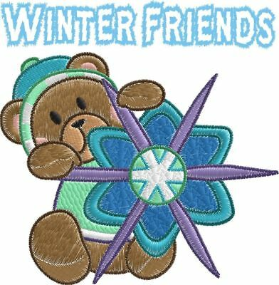 Winter Friends Machine Embroidery Designs snowflakes dog stocking PES JEF HUS