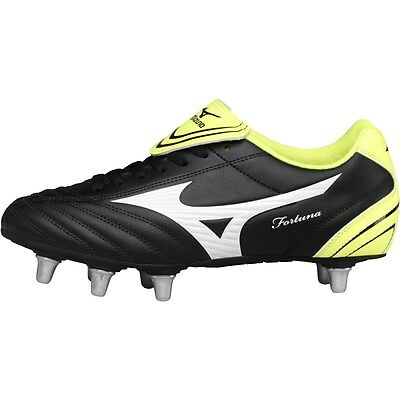 Mizuno Mens Fortuna SP SG Rugby Boots Black/White/Yellow  UK 8