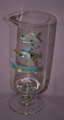 """Ned Smith Cocktail Martini Water Fowl Glass Pitcher -  Pintail & Redhead Duck 9"""""""