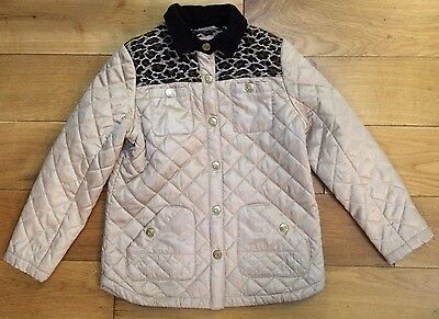 River Island 9 Years Age Girls Children Beige Quilted Leopard Print Jacket Coat