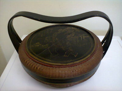 Chinese Black Lacquered Bamboo Wedding Basket