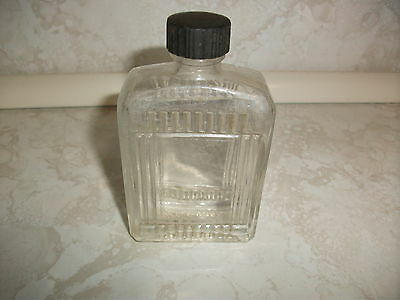 Vintage Empty Fitch's Collectible Clear Glass Bottle with Black Cap