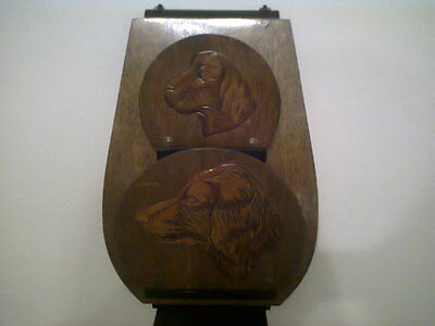 Vintage Rustic Wooden Wall Mounted Letter Rack With Dogs Head Carvings