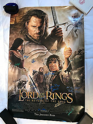 LORD OF THE RINGS:RETURN OF THE KING Double Sided Movie Poster SIGNED by 19 cast