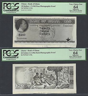 Ghana 20 Dollars 1-7-1962  Pick Unlisted Face - Back Photographic Proof
