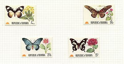 Weeda Biafra unlisted 1968 set of 4, noted in Gibbons, elusive Butterfly topical