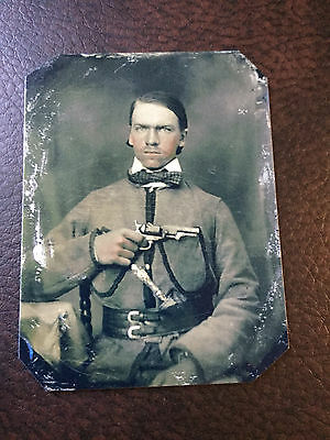 Civil War  Military Soldier With Pistol TinType C946NP