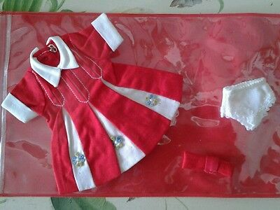 """60's Vintage 8"""" PENNY BRIGHT SKIPPER RED DOLL DRESS, PANTIES, BOW, Old Stock-New"""
