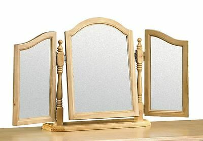 Pickwick Antique Pine Wooden Triple Dressing Table Mirror