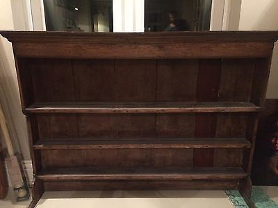 Vintage Old Dark Oak Display Plate Rack Dresser