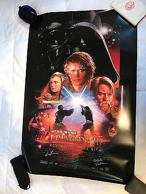 STAR WARS:REVENGE OF THE SITH Double Sided Poster SIGNED by 7 Cast and LUCAS