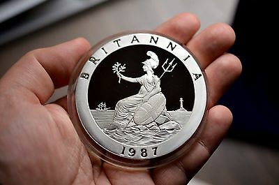 Huge 5 Troy Oz Solid Silver Britannia 1987 Coinex British Numismatic Coin Medal