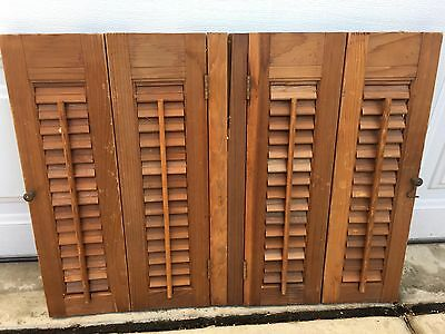 """Vintage Wood Louvered Interior Window Shutters 27"""" Wide x 20"""" High"""